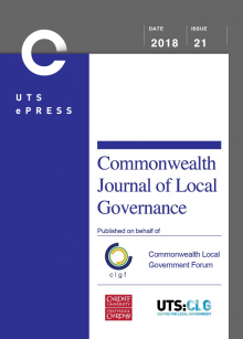 Cover: Commonwealth Journal of Local Governance, December Issue 21, 2018.