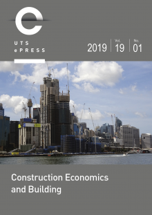 Cover - Construction Economics and Building Volume 19, Issue 1 (2019)